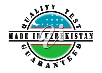 Quality test guaranteed stamp with a national flag inside, Uzbekistan