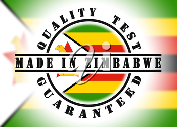 Quality test guaranteed stamp with a national flag inside, Zimbabwe