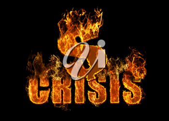 Fire dollar sign on black background - financial crisis concept