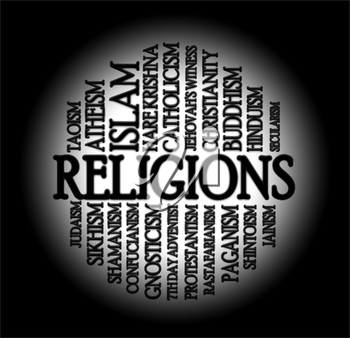 Religions word cloud with a black background