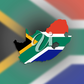 Map of South Africa with national flag isolated