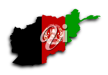 Map of Afghanistan filled with flag, isolated