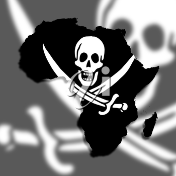 Map of Africa filled with a pirate flag, isolated