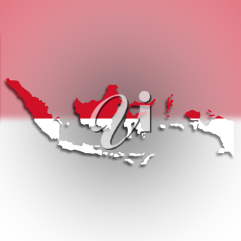 Map of Indonesia filled with flag, isolated