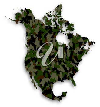 Map of North America filled with camouflage pattern, isolated