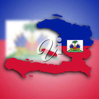 Map of Haiti filled with the national flag