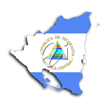 Map of Nicaragua filled with the national flag