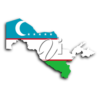 Map of Uzbekistan filled with the national flag