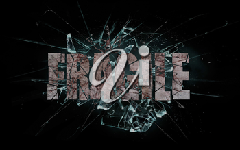 Concept of violence or crash, broken glass with the word fragile