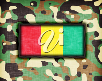 Amy camouflage uniform with flag on it, Guinea