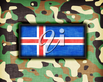 Amy camouflage uniform with flag on it, Iceland