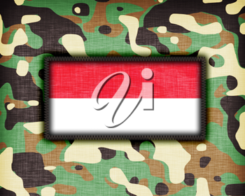 Amy camouflage uniform with flag on it, Indonesia