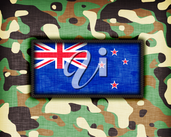 Amy camouflage uniform with flag on it, New Zealand
