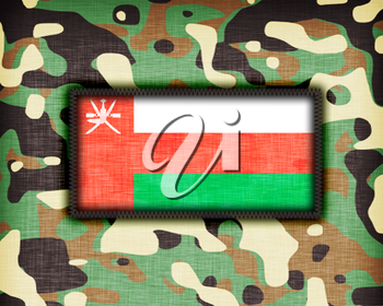 Amy camouflage uniform with flag on it, Oman
