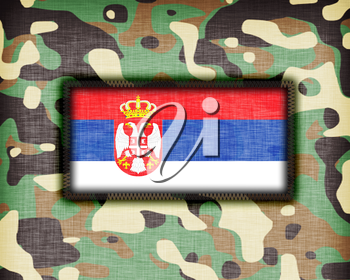 Amy camouflage uniform with flag on it, Serbia