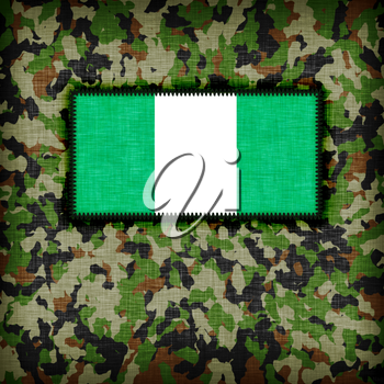 Amy camouflage uniform with flag on it, Nigeria