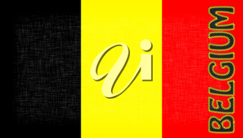 Flag of Belgium with letters stiched on it
