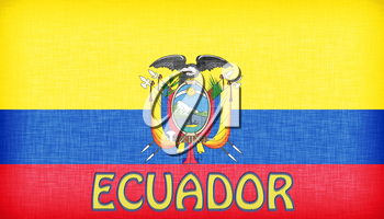 Linen flag of Ecuador with letters stitched on it
