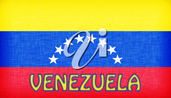 Flag of Venezuela stitched with letters, isolated