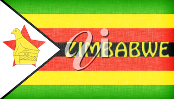 Linen flag of Zimbabwe with letters stiched on it