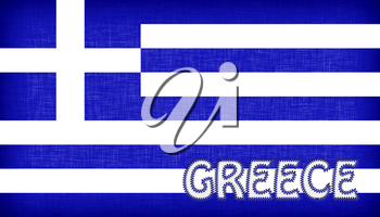 Flag of Greece with letters stiched on it