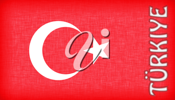 Flag of Turkey with letters stiched on it