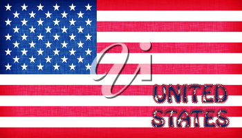 Flag of the USA with letters stiched on it