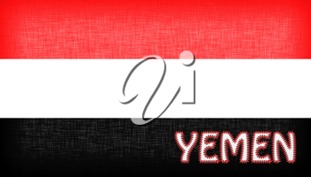 Flag of Yemen stitched with letters, isolated