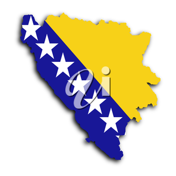 Map of Bosnia and Herzegovina filled with the national flag