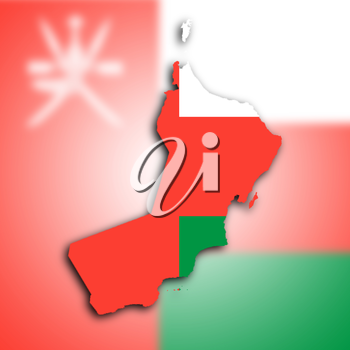 Map of Oman filled with the national flag