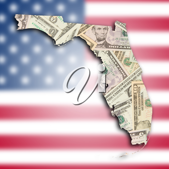 Map of Florida, filled with many dollars