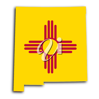 Map of New Mexico, filled with the state flag