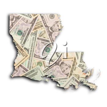 Map of Louisiana, filled with US dollars
