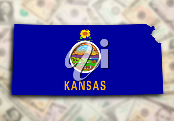Map of Kansas, filled with the state flag