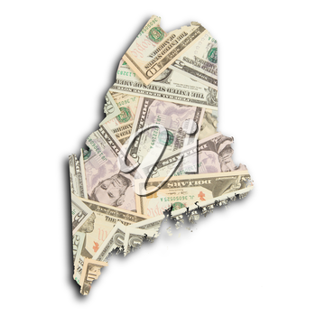 Map of Maine, filled with US dollars