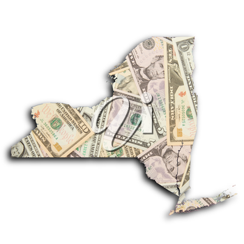 Map of New York filled with US dollars