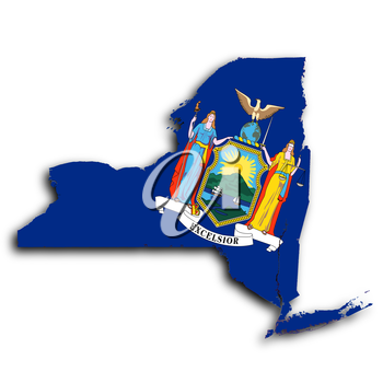 Map of New York  filled with the state flag