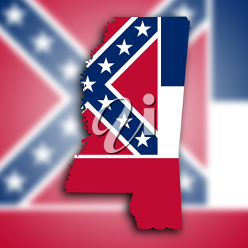 Map of Mississippi filled with the state flag