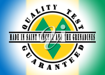 Quality test guaranteed stamp with a national flag inside, Saint Vincent and the Grenadines