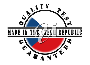 Quality test guaranteed stamp with a national flag inside, Czech Republic