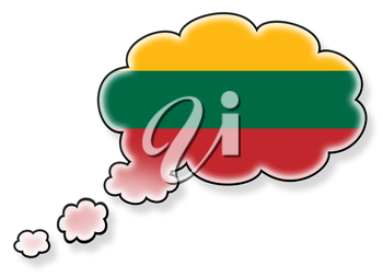 Flag in the cloud, isolated on white background, flag of Lithuania
