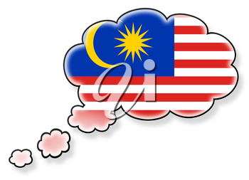 Flag in the cloud, isolated on white background, flag of Malaysia