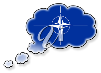 Flag in the cloud, isolated on white background, NATO