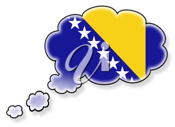 Flag in the cloud, isolated on white background, flag of Bosnia and Herzegovina