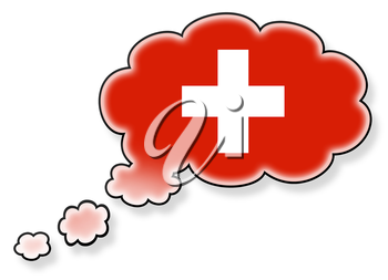Flag in the cloud, isolated on white background, flag of Switzerland