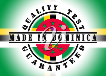 Quality test guaranteed stamp with a national flag inside, Dominica