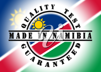 Quality test guaranteed stamp with a national flag inside, Namibia