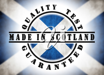 Quality test guaranteed stamp with a national flag inside, Scotland
