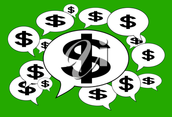 Communication and business concept - Speech cloud, dollar signs