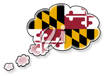 Flag in the cloud, isolated on white background, flag of Maryland